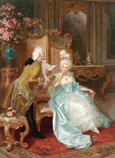 This painting was created in the late in Italy. This photo demonstrates the rococo with the extensive amount of detail and the chose of fashion, and hairstyles. Rococo Painting, Victorian Paintings, Victorian Art, Victorian Bedroom, Classic Paintings, Beautiful Paintings, Marie Antoinette, Tableaux Vivants, Rococo Fashion