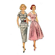 1950s Vintage Dress Pattern Simplicity 2040 Wiggle Dress and Full Skirt UNCUT Bust 34 Vintage Sewing Pattern