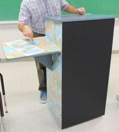 EASY DIY teachers podium with storage. 3 crates and plywood plus ...