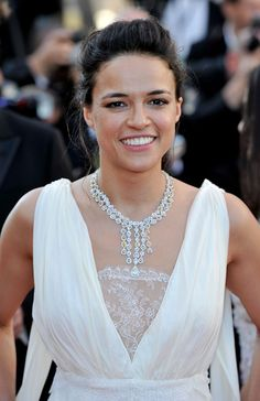 Michelle Rodriguez wearing Avakian diamond necklace at Cannes Film Festival 2012