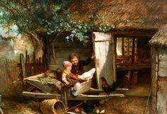 Feeding The Chickens -Johan Mari Henri ten Kate (1831 – 1910, Dutch)