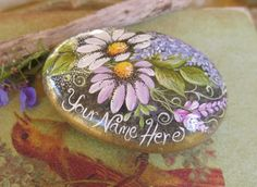 Garden Rock, Beach Stone, Personalized, Painted Rock, Garden Art, Garden Decor, Flowers, Paperweight via Etsy