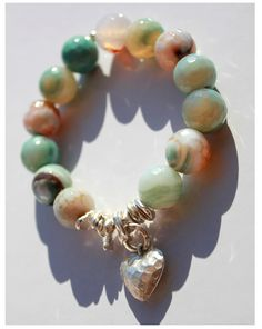 Peruvian Opal Agate and Sterling Silver Nugget and Hammered Heart Charm Stretch Bracelet www.sopretty.ca