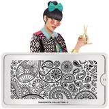 Meet Coco! Mix & match. Gather Inspiration, patterns and crafty ideas. Fashion is a way for us to play with the world and rearrange it to our liking. ● MoYou-London Fashionista 11 includes 1 large design measuring 10.5 x 4.7cm made up of various sized designs. ● The stainless steel plate measures 6.5 x 12.5cm and have a vinyl backing for increased ease of use. ● Each plate comes in its own branded protective sleeve. ● The designs are engraved on to the image plate an...