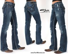 Women's Jeans Blue Classic Boot Cut Dark Wash Stretch Stetson ...