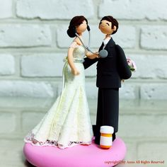 Doctor and Pharmacist couple custom wedding cake topper by annacrafts on Etsy https://www.etsy.com/listing/223863305/doctor-and-pharmacist-couple-custom