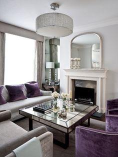 Purple Living Room Decor Design Ideas, Pictures, Remodel and Decor London Living Room, Living Room Grey, Home Living Room, Living Room Designs, Living Room Decor, Living Spaces, Room London, Classic Decor, Sala Grande