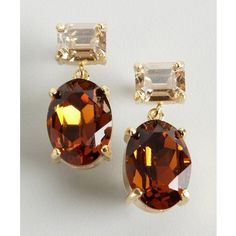 W/A Studios Topaz And Amber Drop Crystal Earrings ($19) ❤ liked on Polyvore