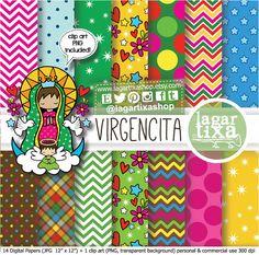Papel Digital Dibujo Virgencita Bautizo o Primera Comunion Virgen María niña decoracion por LagartixaShop