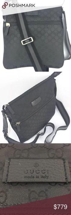 ef952c0acce Gucci Medium GG Nylon Canvas Messenger  449184   Black GG Nylon Canvas  Exterior   Black
