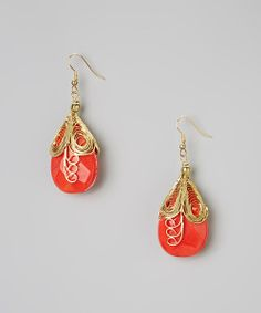 Take a look at the Gold & Coral Madelyn Earrings on #zulily today!