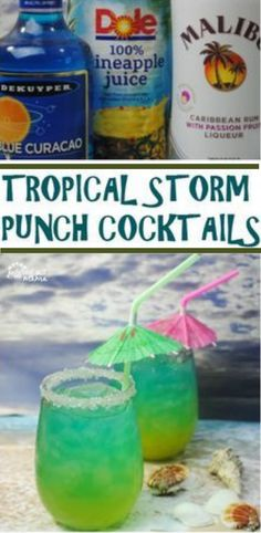 Enjoy a taste of the tropics with this Tropical Storm Punch Cocktail. It's a delicious cocktail made with passion fruit rum, blue curacao, pineapple juice, and my secret ingredient! These tropical storm punch cocktails are both beautiful and delicious! Rum Cocktails, Liquor Drinks, Cocktail Drinks, Fruit Drinks, Tropical Alcoholic Drinks, Alcoholic Beverages, Picnic Drinks, Camping Drinks, Rum Cocktail Recipes