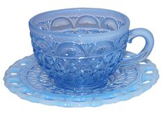 Laced Edge/Katy Blue Depression Glass by Imperial Glass Company