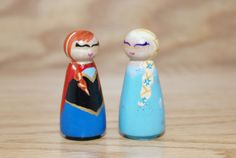 Princess Anna and Queen Elsa Peg Dolls From the by HethrFethr, $16.00