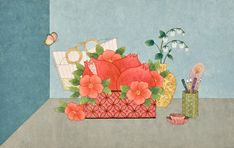 Art And Illustration, Modern Pictures, Korean Art, Traditional Paintings, Japanese Artists, Chinese Painting, Watercolor Background, Oriental, Decorative Boxes
