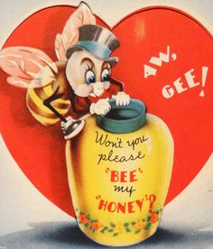 J1276 30s BEE My HONEY POT!-Vintage Diecut Valentine Card