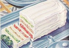 """Sandwich loaf - make several """"salad"""" layers (chicken, shrimp, egg, ham, etc.) with bread (can use other types of bread like pumpernickel) in between.  Butter the bread to keep the salads from """"bleeding"""" in between layers.  Soften cream cheese with milk and spread over the whole loaf.  Slice into servings."""