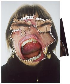 Annegret Soltau, Self Portrait, German artist Annegret Soltau constructs collage using photographs of her own face and body, stitched with black thread, confronting explicit issues in an imaginative manner.