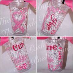Personalized breast cancer tumbler butterfly by ThePoshDiva