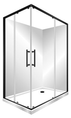 Features right hand version, One piece acrylic lining. Low profile tray with 40mm upstand Tray is Centre Waste as standard but also available in Corner Waste. 1950mm high glass 6mm safety glass. Large interior Space, corner sliding doors Minimalist modern style Available in Black, Silva or White