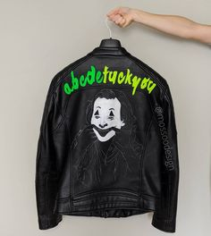 My mother always tells me to smile and put on a happy face. The Joker Jacket by Joker Jacket, Painted Leather Jacket, Joker Art, Put On, Graphic Sweatshirt, Smile, Leather Jackets, Sweatshirts, Face