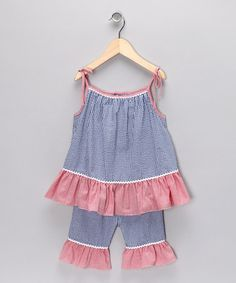 Take a look at this Blue & Red Gingham Ruffle Dress - Infant & Toddler by Petit Pomme on #zulily today!