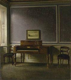 VILHELM HAMMERSHOI  The Old Piano, Strandgade 30  (1907)