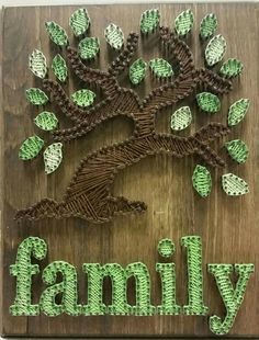 20 Trendy String Art Signs-Our Little Blended Family String art signs are a rising trend for the home. Check out these string art signs that will add charm and a pop of color to your home. String Wall Art, Nail String Art, String Crafts, Diy Wall Art, Wall Decor, String Art Templates, String Art Patterns, Doily Patterns, Dress Patterns