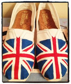 Union Jack Custom Toms Shoes by CustomTOMSbyJC on Etsy, $100.00- I really don't like Toms, but I would rock these every freakin day.