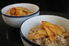 Super Simple Roasted Apples Over Oatmeal by recipesremembered #Oatmeal #Apples