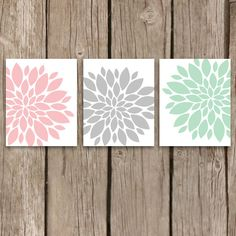 Flower Art Prints -  Printable Files Set of Three - Instant Download Nursery Art Prints in Pink and Mint