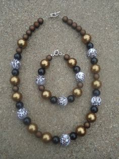 Black Brown  Gold with Cheetah Print Necklace and by lihlenfeldt, $15.00