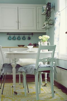 Cottage kitchen in light blue and white.  I love the yellow rug!!!