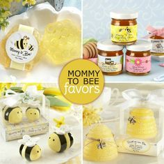 """Get your guests """"buzzing"""" with a Mommy-to-Bee Baby Shower theme and don't  forget the fabulous favors! A honeybee-themed baby shower is a great way to  celebrate the arrival of a new little one and Favor Days has the perfect  selection of gender neutral favors that your guests will surely enjoy!  """"Bee"""" inspired by some of our favorites from their collection...  Featured Favors: """"Mommy To Bee"""" Honey Scented Honeycomb Soap, Personalized  Honey Jars, """"Sweet as Can Bee"""" Salt & Pepper Shakers…"""