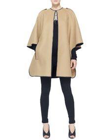 Burberry London Leather-Trim Cape Coat, Colorblock Cashmere Henley Top & Side-Stripe Leather Leggings