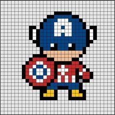 Patrones PixelさんはInstagramを利用しています:「Patrón de Hama Beads Midi de Capitán América, nuestro superhéroe favorito de los Vengadores 😎.⠀ ⠀ Si quieres saber como se hace, ya sea en…」
