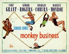 Monkey Business You can never go wrong with a film that includes Cary Grant, Ginger Rogers & Marilyn Monroe. Such a cute comedy! Cary Grant, Avengers 2012, Loretta Young, Ginger Rogers, Mae West, Carole Lombard, Bruce Banner, Monkey Business, Old Movies