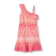 Girls Sleeveless Paisley One-Shoulder Tank Dress - Pink - The Children's Place