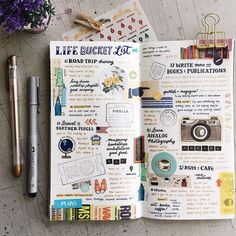 Plan and organize your entire day or week with these easy and creative bullet journal ideas. Use these bullet journal hacks as inspiration for your bujo! Album Journal, Travel Journal Pages, Scrapbook Journal, Journal Layout, Travel Journals, Travel Scrapbook, Life Journal, Journal Design, Journal Notebook