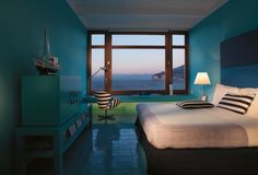 Bedroom of Mr & Mrs Smith - Maison La Minervetta in lovely sea blue  colours #bedroom
