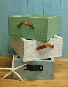 Sea Green Weathered Trug Tray Crate Leather Handles from Etsy shop, CastawaysHall