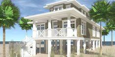 Front View - Lubber's Line House Plan - Tyree House Plans Beach Cottage Decor, Coastal Cottage, Coastal Homes, Beach Homes, Coastal Living, Coastal Style, Coastal Country, Coastal Bedrooms, Modern Coastal