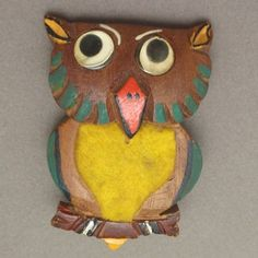 Owl Pin Vintage Hand-Painted Wooden Bird Brooch with Googly Eyes