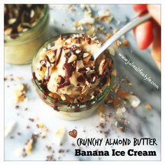 Easy Recipe for Crunchy Almond Butter Banana Ice Cream - Discover How to Make Delicious Dairy Free Ice Cream with Frozen Banana! No Ice Cream Machine or Refined Sugars. Raw Vegan Desserts, Vegan Dessert Recipes, Dairy Free Recipes, Raw Food Recipes, Vegan Food, Paleo Vegan, Vegan Treats, Gluten Free, Healthy Recipes