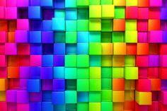 Rainbow Cubes. A Wallpaper Mural by Muralunique.com.