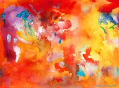 RED AND YELLOW with violet white & blue /// by EisnerArt, $25.00