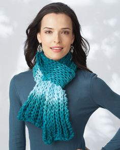 Bundle up in style with this chic brioche scarf! Shown in Bernat Bargello. #knit