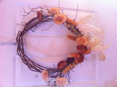 DIY Fall Wreath - used old grapevines for the wreath part & hot glued the Indian corn.