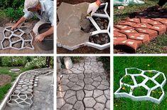 Formy Kocie Łby 60x60x6 cm do kostki brukowej — forma do ścieżki ogrodowej, forma do płytek chodnikowych — Kamienie.