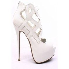WHITE FAUX LEATHER CUTOUT OPEN TOE PLATFORM BOOTIE HEELS,Women's Heels-Sexy Heels,High Heels Pumps,6 Inch Heels,High Heels Shoes,Heels and Pumps,Platform Heels,Stiletto Heel,Fashion Heels,Prom Heels,6 Inch High Heels,Party Heels At LolliCouture
